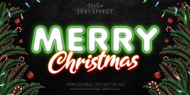 Merry christmas text neon style editable text effect on black grunge background