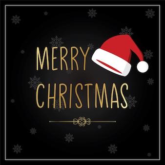 С рождеством христовым текстовый плакат с санта-шапкой