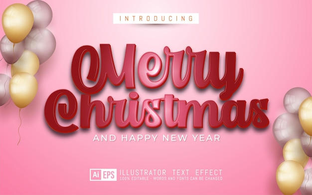 Merry christmas text red color 3d style editable text effect