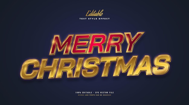 Merry christmas text in red and gold with glowing and glitter effect. editable text style effect