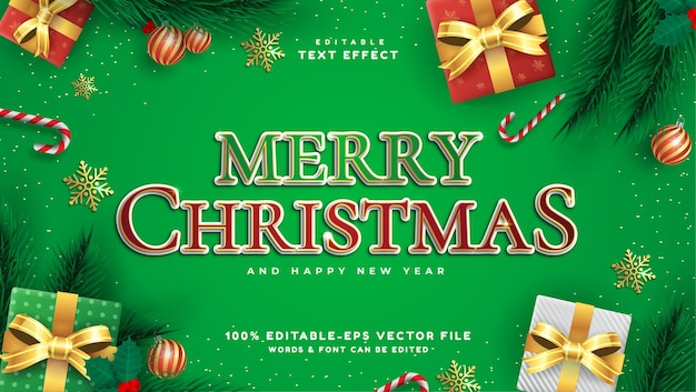 Merry christmas text red and green color style editable text effect