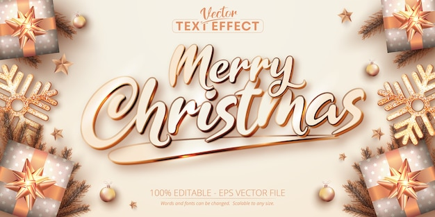 Merry christmas text rose gold color style editable text effect