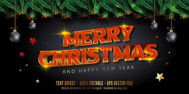 メリークリスマステキスト、光沢のあるゴールドのクリスマススタイルの編集可能なテキスト効果