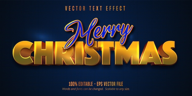 Merry christmas text, shiny golden style editable text effect on blue color textured