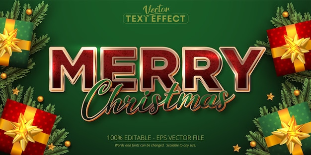 Merry christmas text shiny rose gold color style editable text effect on green background