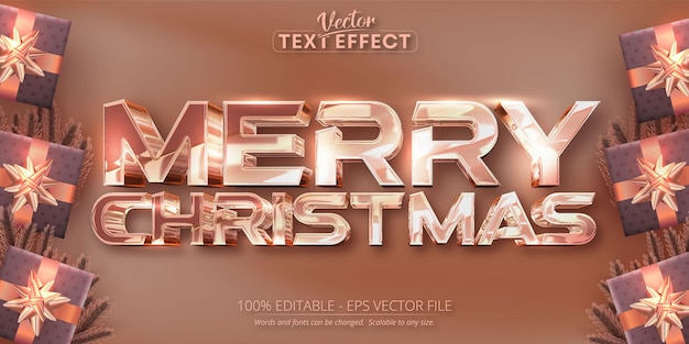 メリークリスマステキスト光沢のあるローズゴールドカラースタイル編集可能なテキスト効果