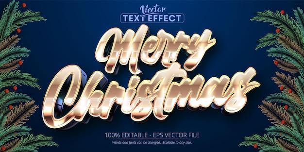С рождеством христовым текст в блестящем стиле розового золота с редактируемым текстовым эффектом на синем фоне