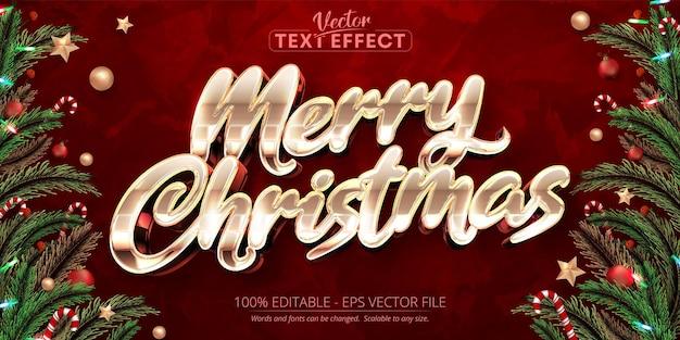 赤いグランジの背景にメリークリスマステキスト光沢のあるローズゴールドスタイルの編集可能なテキスト効果