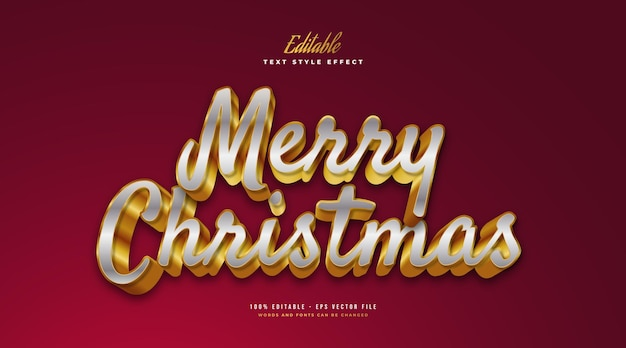 Merry christmas text in silver and gold with 3d effect. editable text style effect