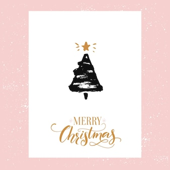 Merry christmas text and sketched christmas tree. vector greeting card design with gold text and black ink drawing.