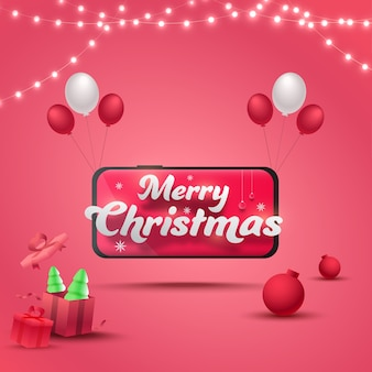 Merry christmas text in smartphone with glossy balloons