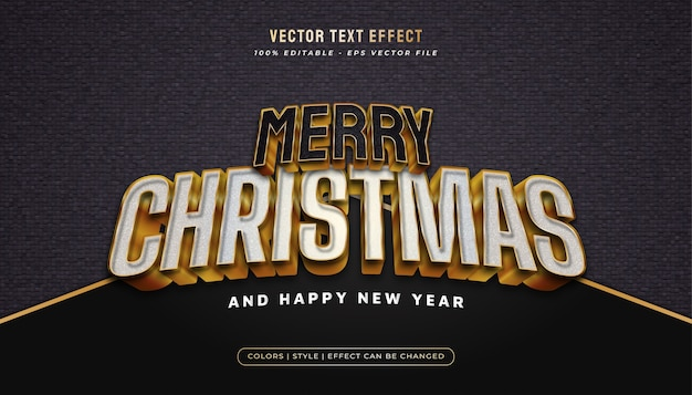 Merry christmas text in white and black style and embossed effect in gold concept