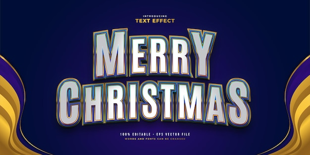 Merry christmas text in white, blue and gold style with 3d and curved effect. editable text style effect