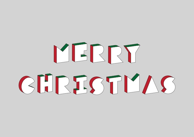 Merry christmas text with 3d isometric effect on gray