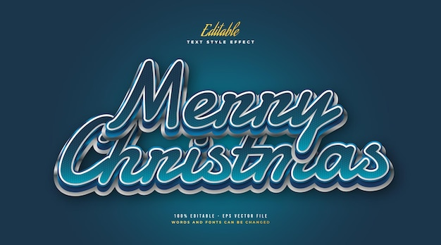 Merry christmas text with cartoon style in white and blue. editable text style effect