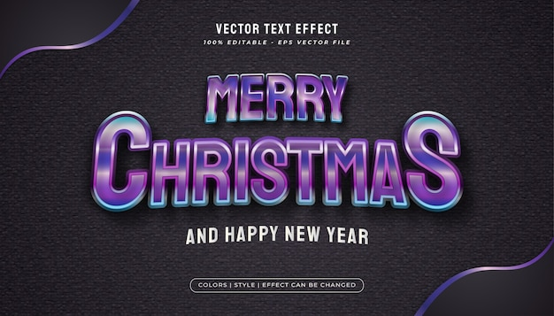 Merry christmas text with colorful and glossy style in realistic concept