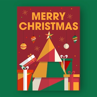 Merry christmas text with colorful paper cut xmas tree