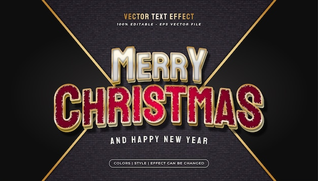 Merry christmas text with elegant white and red concept and realistic effect