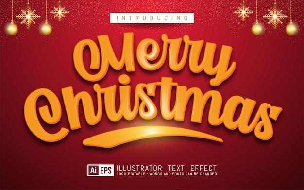 Merry christmas text yellow color 3d style editable text effect