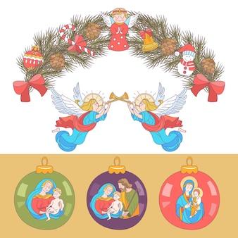 메리 크리스마스. 천사들이 나팔을 불고 있습니다.