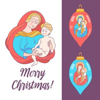 메리 크리스마스. 동정녀 마리아와 아기 예수.