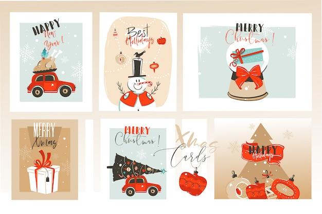 메리 크리스마스 시간 인사말 카드
