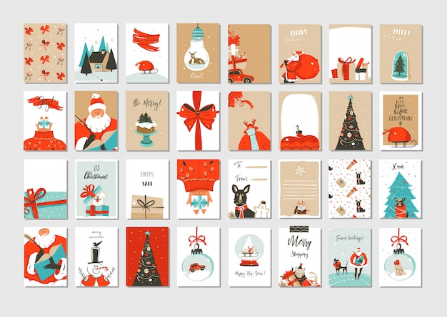 Merry christmas time greeting cards
