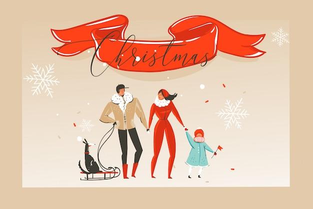 Счастливого рождества со счастливой семьей и красной лентой с рождественской типографикой, изолированной на фоне ремесла