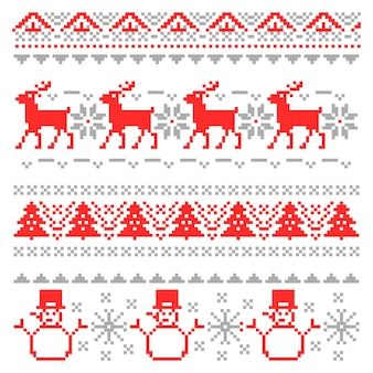 Merry christmas traditional scandinavian knitting pixel borders with reindeer and christmas tree.  illustration