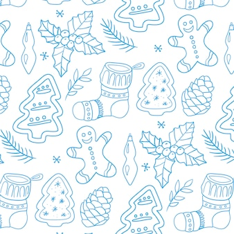 Merry christmas traditional symbols in doodle pattern style