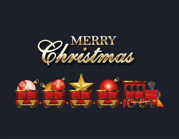 球体のデザイン、冬の季節、装飾をテーマにしたメリークリスマストレイン