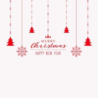 메리 크리스마스 트리와 눈송이 장식 배경