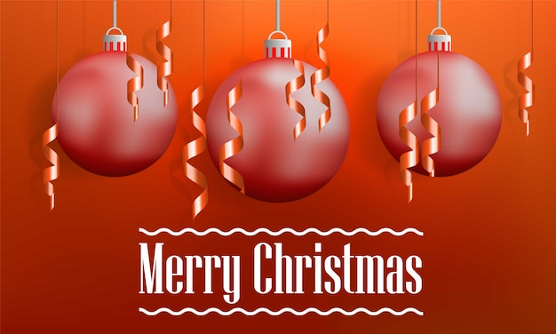 Merry christmas tree balls concept banner, realistic style