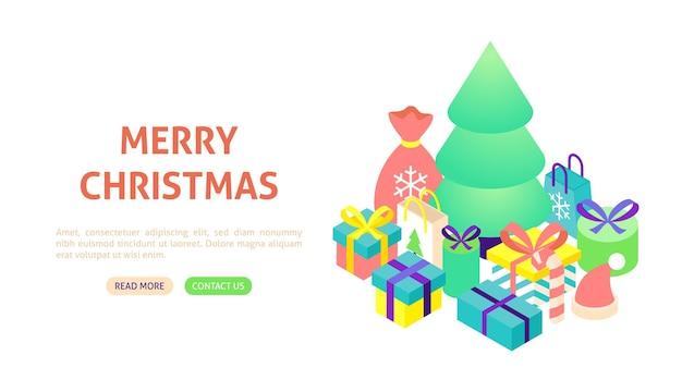 Баннер с рождеством христовым. векторная иллюстрация изометрии зимний праздник.