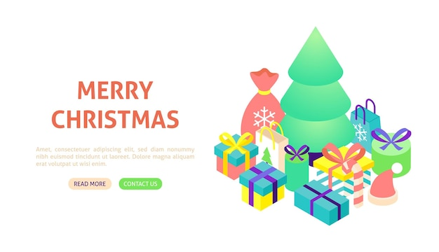 Merry christmas tree banner. vector illustration of winter holiday isometry.