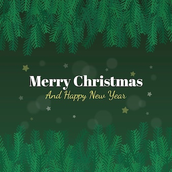 Merry christmas tree branches background and happy new year