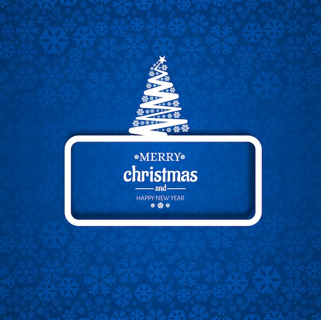 Merry christmas tree card with snowflake background