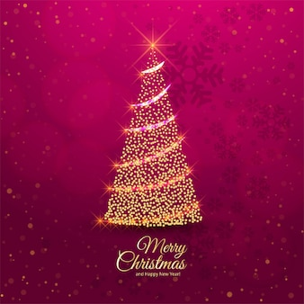 Merry christmas tree celebration card