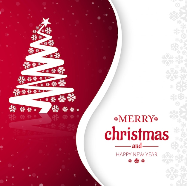 Merry christmas tree celebration greeting card design