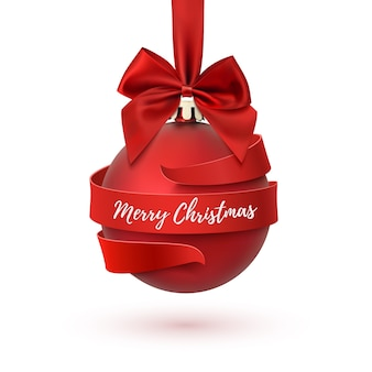 Merry christmas tree decoration with red bow and ribbon around, isolated on white background. greeting card template for brochure or poster.