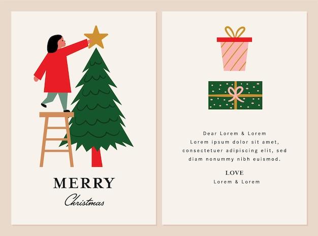 Merry christmas tree greeting card design