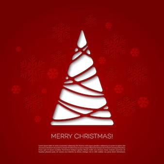 Веселая рождественская елка открытка. бумажный дизайн