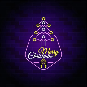Merry christmas tree icon - christmas neon text