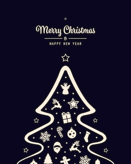 Merry christmas tree icon elements card background