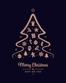 Merry christmas tree icon rose gold elements background