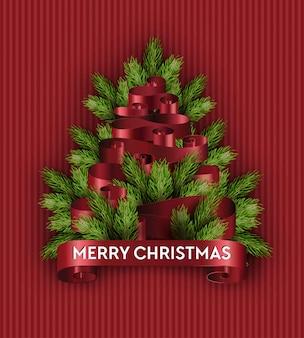 Merry christmas tree imitation holidays pine branch fir