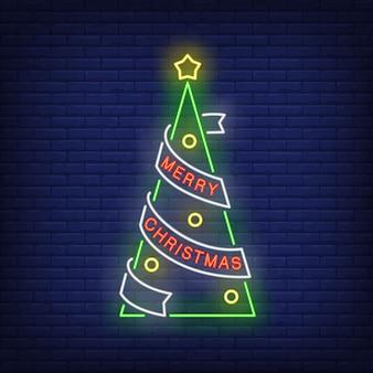 ネオンスタイルのメリークリスマスツリー