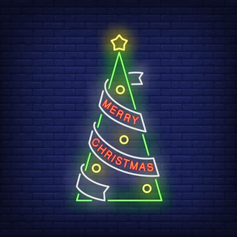 Merry christmas tree in neon style