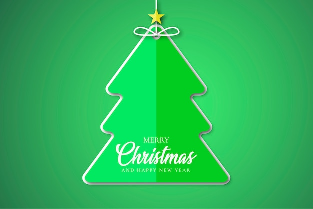 Merry christmas tree sticker