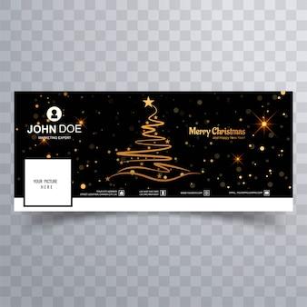 Facebookのバナーカラフルなテンプレートとメリークリスマスツリー